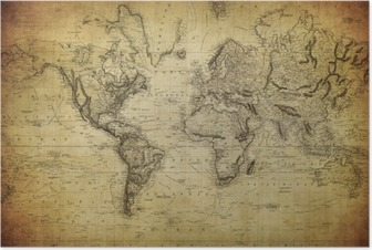 Póster vintage map of the world 1814..