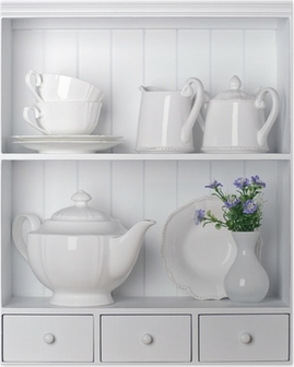 Póster White shelf with vintage porcelain tableware