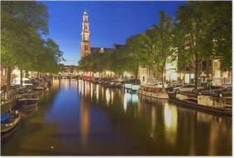 Poster Amsterdam'da kanal Prinsengracht'ın Batı kilise