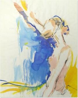 Poster Balerin, su renkleri tekniği ve kömür