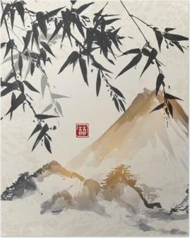Poster Bambu ve dağlar. Geleneksel Japon mürekkep boyama Sumi-e. çift şans - hiyeroglif içerir.