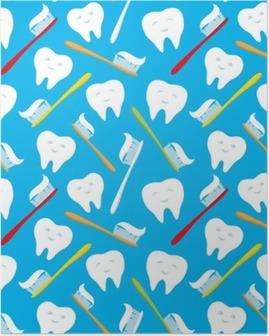 Poster Beyaz dişler ve renkli diş fırçası.