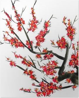 Poster Bir çiçeklenme ağacının bir dalı. sakura pembe çiçekler. stil Sumi-e suluboya ve mürekkep illüstrasyon, u-sin. Oryantal geleneksel resim. Beyaz zemin üzerine izole edilmiştir.
