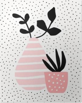 Poster Bitkiler Pembe Vazo ve Pot