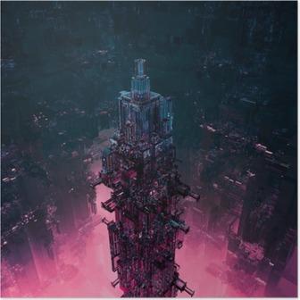 Poster Cam technocore şehir / 3D futuristik bilim kurgu yapısı işlemek