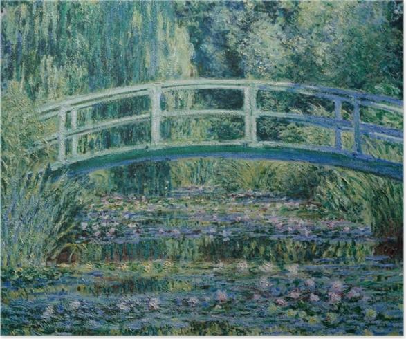 Poster Claude Monet - Beyaz Waterlilies - Benzetiler