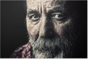 Poster Çok eski evsiz üst adam portre