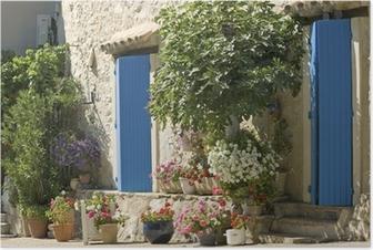 Poster Cottage, Provence, Fransa çiçek ile mavi kapı.