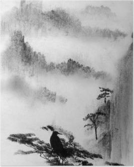 Poster Dağ sis ve çam