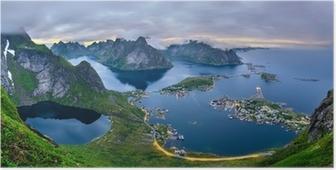 Poster Dağların Panorama ve Lofoten Adaları Reine, Norveç