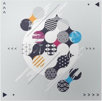 Poster Dekoratif çevrelerle soyut geometrik kompozisyon