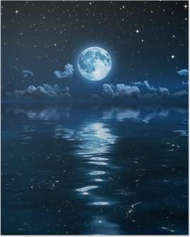 Poster Denizde gece süper ay ve bulutlar