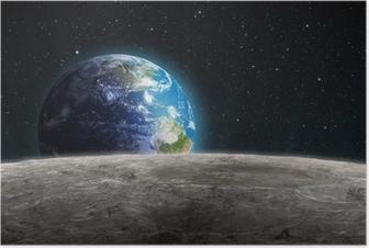 Poster Dünya Ay'a Rising