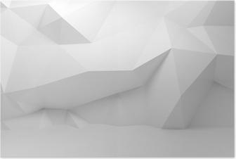 Poster Duvara çokgen desenli soyut beyaz 3d iç