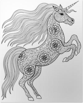 El Yetişkin Anti Stres Boyama Sayfa Zekâ Için Sihirli Unicorn