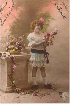 Poster Fransız antika vintage postcard küçük kız.