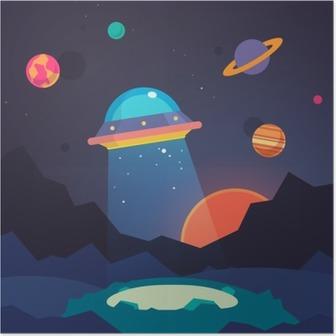 Poster Gece yabancı dünya manzara ve ufo uzay gemisi