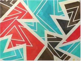 Poster Grunge etkisi ile gençlik geometrik seamless pattern