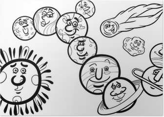 Gunes Sistemi Karikatur Cizimi Gezegenler Poster Pixers Haydi