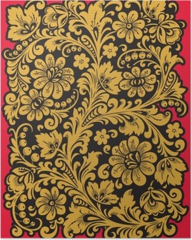 Poster Halk Khokhloma. Rus milli gelenek tarzında süsleme