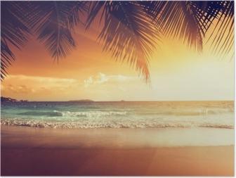 Poster Karayip deniz sahilde gün batımı