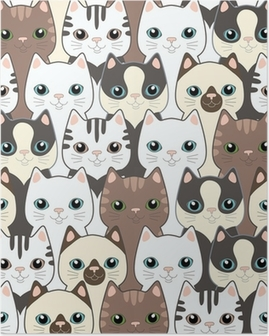 Poster Komik karikatür kedi. Seamless pattern