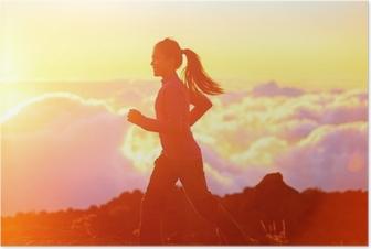 Poster Koşu - günbatımında kadın koşucu koşu
