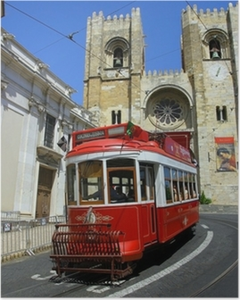 Poster Lizbon kırmızı tramvay