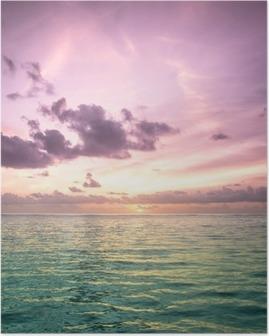 Poster Maldivler tropikal mavi deniz suyu