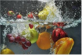 Poster Meyve ve sebzeler suya sıçrama