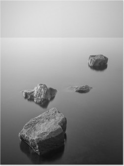 Poster Minimalist puslu manzara. Siyah ve beyaz.