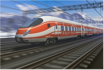 Poster Motion blur ile modern yüksek hızlı tren