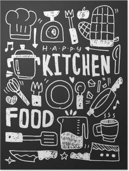 Poster Mutfak elemanları karalamalar elle çizilmiş çizgi simgesi, eps10