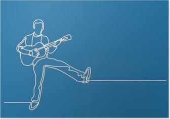 Poster Mutlu bir adam oynama gitar sürekli hat çizimi