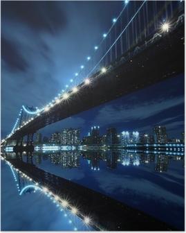 Poster Night Lights At Manhattan Köprüsü, New York