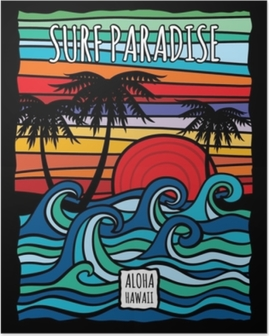 Poster Okyanus dalgaları ve palmiye ağaçları ile vintage hawaii aloha sörf grafik vektör t-shirt tasarımı