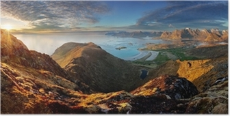 Poster Okyanus ve dağ birlikte Norveç Peyzaj panorama - Lofoten