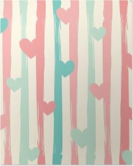 Poster Pastel çizgiler ve kalpler. dikişsiz vektörel desen.