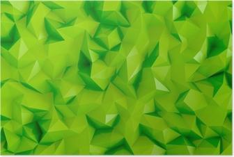 Poster Poligon kireç yeşil 3d üçgen geometrik arka plan