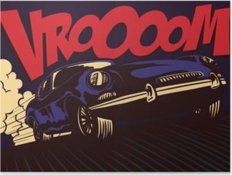 Poster Pop art çizgi roman tarzı hızlı spor araba vrooom onomatopoeia vektör çizim poster tasarımı ile tam hızda sürüş
