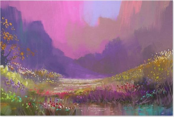 Renkli çiçeklerle Dağlarda Güzel Manzara Dijital Boyama Poster