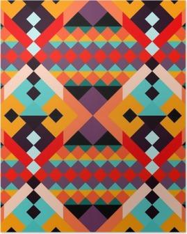Poster Renkli geometrik çokgenler sorunsuz desen