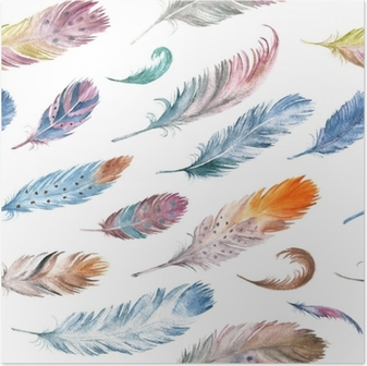 Tavus Kuşu Tüyü Ile Sulu Boya Dikişsiz Desen Poster Pixers