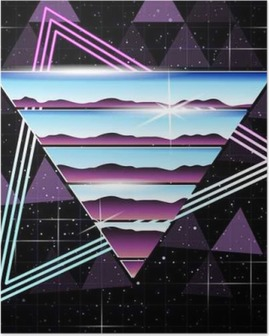 Poster Retrofuturistic krom ve neon arka plan