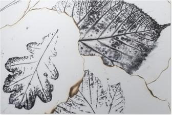 Poster Sanatsal resim - yaprakların izleri - Grafik - monotype