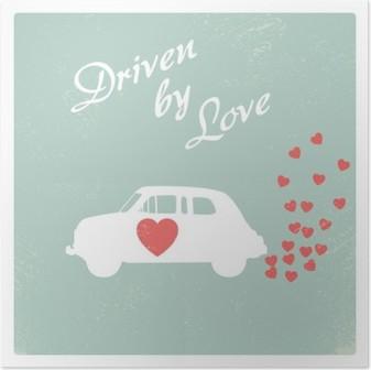 Poster Sevgililer kartı için aşk romantik kartpostal tasarımı ile tahrik eski model araba.