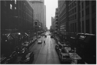 Poster Siyah ve Beyaz Chicago Sokaklar