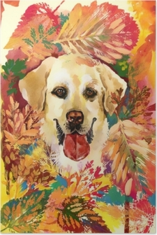 Poster Sonbahar köpek çizilen illüstrasyon ver