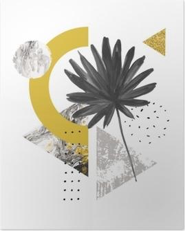 Poster Soyut yaz geometrik şekiller, egzotik yaprak. mermer, grunge dokular, karalamalar, suluboya fan palmiye yaprağı ile dolu üçgenler. el modern minimal tarzda geometrik sanat illüstrasyon boyalı