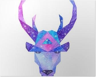 Poster Sulu kozmik hayvanlar. Elle çizilmiş çizim